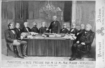 The Ministry of 1875 Presided Over by Marshal Edme Patrice Maurice Mac-Mahon (1808-93) at Versailles, 1875 (litho) (b/w photo) Wall Art & Canvas Prints by Eugene Appert
