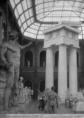 Ecole Nationale des Beaux-Arts, Palais des Etudes, the glass courtyard, c.1890-99 (b/w photo) Wall Art & Canvas Prints by Adolphe Giraudon