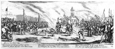 The Stake, plate 13 from 'The Miseries and Misfortunes of War', engraved by Israel Henriet (c.1590-1661) 1633 (engraving) (b/w photo) Fine Art Print by Jacques Callot