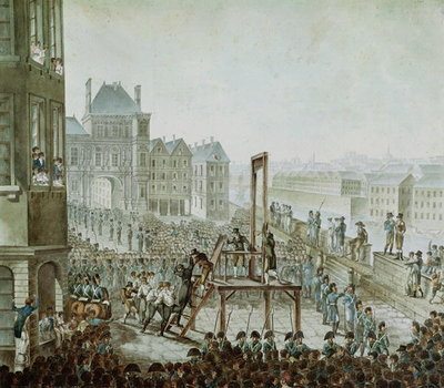 The Execution of Georges Cadoudal (1771-1804) and his Accomplices, Place de Greve, 25th June 1804 (w/c on paper) Wall Art & Canvas Prints by Armand de Polignac
