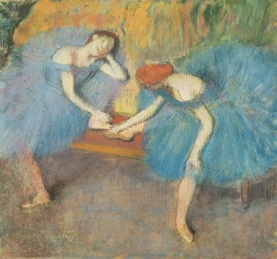 Two Dancers at Rest or, Dancers in Blue, c.1898 (pastel on paper) Wall Art & Canvas Prints by Edgar Degas