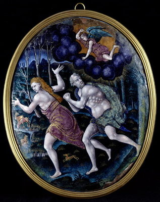 Oval plaque depicting Adam and Eve Expelled from Paradise, Limousin Poster Art Print by French School