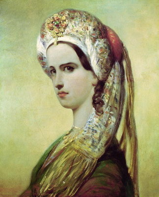 Portrait of Rachel (1821-58) (oil on canvas) Wall Art & Canvas Prints by Achille Deveria
