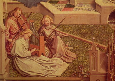 The Fountain of Grace, detail of three angel musicians (oil on panel) Fine Art Print by Jan van Eyck
