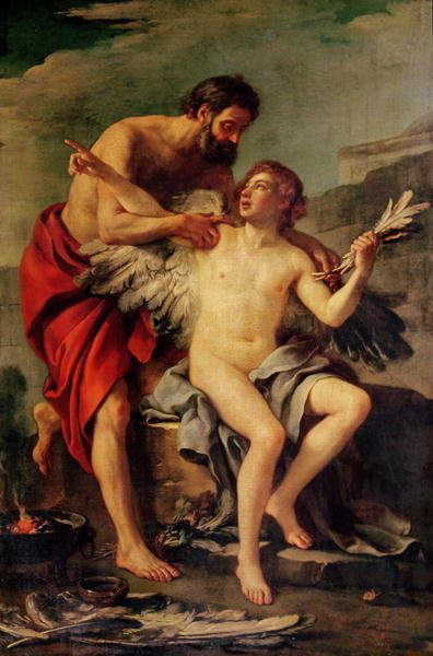 Daedalus Attaching Icarus' Wings, c.1754 Poster Art Print by Joseph-Marie, the Elder Vien