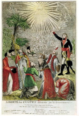Freedom of Worship during the period of Napoleon's consulship, depicting Napoleon pointing towards the Supreme Being, 1799 (colour engraving) Fine Art Print by French School
