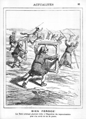 'Ferocious!' The Turks buying several works at the Impressionist Exhibition to be used in case of war, caricature from 'Le Charivari', 28th April 1877 (litho) (b/w photo) Fine Art Print by Cham