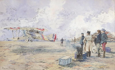 An Aeroplane Taking Off, 1913 (w/c on paper) Postcards, Greetings Cards, Art Prints, Canvas, Framed Pictures, T-shirts & Wall Art by Francois Flameng