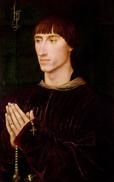 Philippe de Croy (c.1450-1511) Seigneur of Sempy, right wing from a diptych (oil on panel) Wall Art & Canvas Prints by Rogier van der Weyden