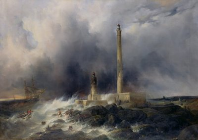 View of the Lighthouse at Gatteville Fine Art Print by Jean Louis Petit