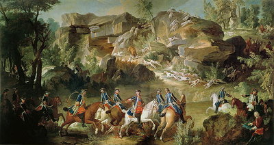 Hunting in the Forest of Fontainebleau at Franchard (oil on canvas) Wall Art & Canvas Prints by Jean-Baptiste Oudry