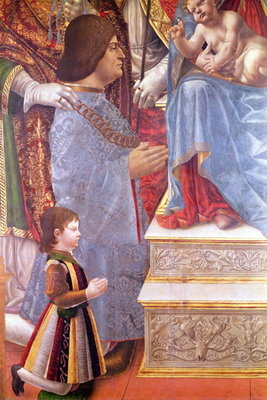 Detail of Ludovico il Moro (1451-1508) and his son Massimiliano (1491-1530) from the Sforza Altarpiece, c.1495 (tempera on panel) (detail of 85273) Wall Art & Canvas Prints by Master of the Pala Sforzesca