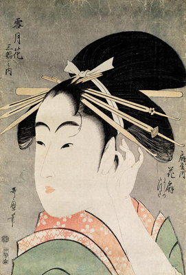 Head of a Woman (colour woodblock print) Fine Art Print by Kitagawa Utamaro