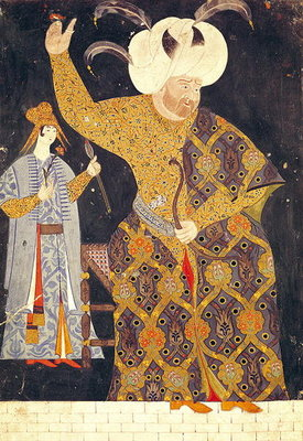 Portrait of Sultan Selim II (1524-74) firing a bow and arrow (gouache on paper) Fine Art Print by Nakkep, called Nigari Reis Haydar