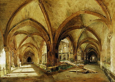 The Cloisters of St. Wandrille, c.1825-30 (oil on canvas) Wall Art & Canvas Prints by Louis Eugene Gabriel Isabey
