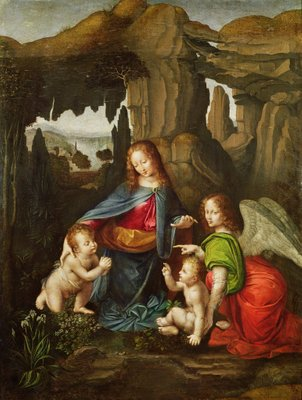 Madonna of the Rocks (oil on panel) Fine Art Print by Leonardo da Vinci