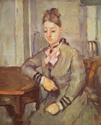 Madame Cezanne Leaning on a Table, 1873-77 Fine Art Print by Paul Cezanne