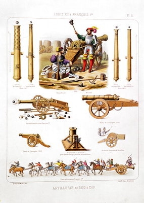 French artillery between 1500-50, from 'L'Artillerie Francaise' Fine Art Print by Johannes Moltzheim