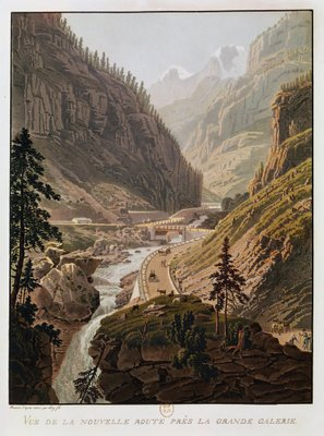 View of the New Simplon Pass, 1811 (coloured engraving) Wall Art & Canvas Prints by Mathias Gabriel Lory