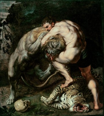Hercules Fighting the Nemean Lion (oil on canvas) Wall Art & Canvas Prints by Peter Paul Rubens