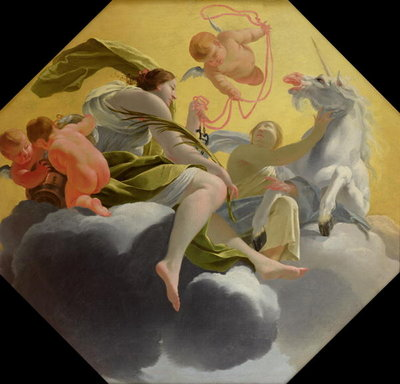 Temperance, from a series of the Four Cardinal Virtues on the ceiling of the Queen's bedroom at Saint-Germain-en-Laye, c.1637-38 Fine Art Print by Simon Vouet