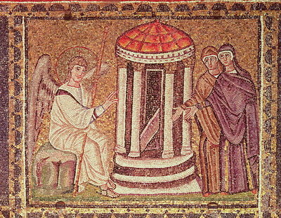 The Marys at the Tomb, Scenes from the Life of Christ (mosaic) Postcards, Greetings Cards, Art Prints, Canvas, Framed Pictures, T-shirts & Wall Art by Byzantine School