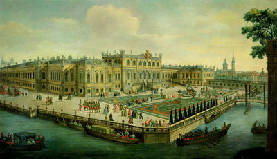 The Summer Palace, St. Petersburg (oil on canvas) (see also 88774) Wall Art & Canvas Prints by Russian School
