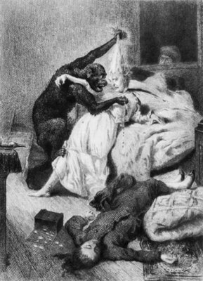 Illustration for 'The Murders in the Rue Morgue' by Edgar Allan Poe (1809-49) engraved by Eugene Michel Abot (1836-94) (engraving) (b/w photo) Fine Art Print by Daniel Urrabieta Vierge