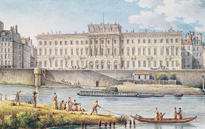 View of the Hotel des Monnaies at the Confluence of the Two Branches of the Seine (w/c on paper) Wall Art & Canvas Prints by Victor Jean Nicolle