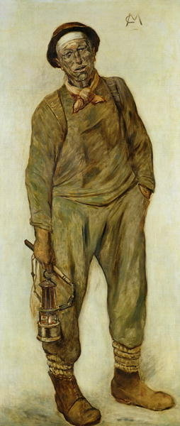 A Miner (oil on canvas) Wall Art & Canvas Prints by Constantin Emile Meunier