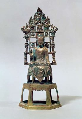 Statuette of Buddha in meditation, Tang Dynasty, 618-907 (gilt bronze) Fine Art Print by Chinese School