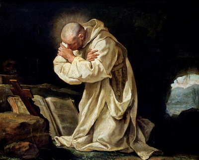 St. Bruno (1030-1101) Praying in the Desert, 1763 (oil on canvas) Postcards, Greetings Cards, Art Prints, Canvas, Framed Pictures, T-shirts & Wall Art by Jean Bernard Restout