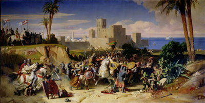 The Taking of Beirut by the Crusaders in 1197, 1842 Poster Art Print by Alexandre-Jean-Baptiste Hesse