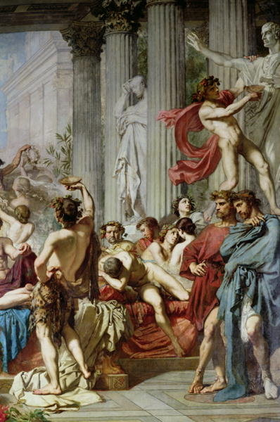 The Romans of the Decadence, detail of the right hand group, 1847 (oil on canvas) (detail of 36568) Fine Art Print by Thomas Couture