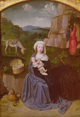 The Rest on the Flight into Egypt (oil on panel) Postcards, Greetings Cards, Art Prints, Canvas, Framed Pictures, T-shirts & Wall Art by Gerard David