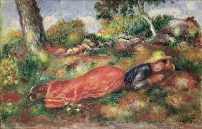 Young Girl Sleeping on the Grass Fine Art Print by Pierre-Auguste Renoir