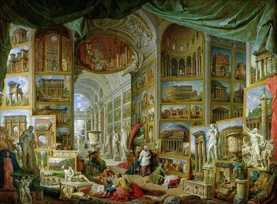 Gallery of Views of Ancient Rome, 1758 Fine Art Print by Giovanni Paolo Pannini or Panini