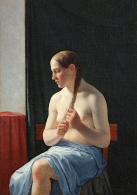 The Model, 1839 (oil on canvas) Fine Art Print by Christoffer-Wilhelm Eckersberg
