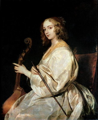 Young Woman Playing a Viola da Gamba Fine Art Print by Sir Anthony van Dyck