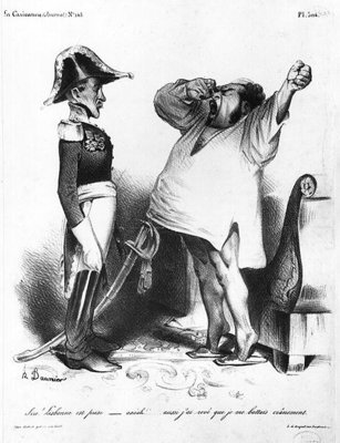 The Count of Villaflor telling Pedro I (1798-1834) Emperor of Brazil and King of Portugal that he has recaptured Lisbon, from 'La Caricature', N 145, 1833 (litho) (b/w photo) Wall Art & Canvas Prints by Honore Daumier