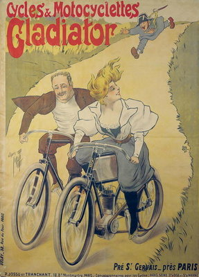 Poster advertising Gladiator bicycles and motorcycles (colour litho) Postcards, Greetings Cards, Art Prints, Canvas, Framed Pictures, T-shirts & Wall Art by Ferdinand Misti-Mifliez