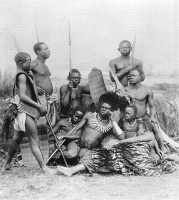 Warriors, Belgian Congo, 1894 (b/w photo) Wall Art & Canvas Prints by French Photographer