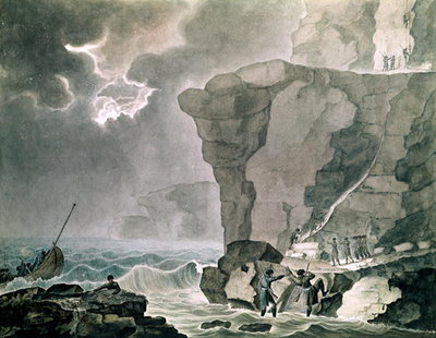 Landing of the Conspirators in the Cadoudal Affair at the Cliff of Biville near Dieppe, 16th January 1804 (w/c on paper) Fine Art Print by Armand de Polignac