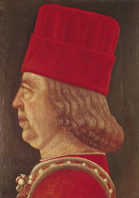 Portrait of Borso d'Este, Prince of Ferrara (oil on canvas) Fine Art Print by Baldassare d' Este