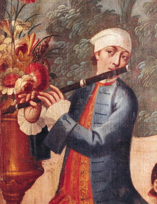 A Flautist, detail from a screen (oil on canvas) Postcards, Greetings Cards, Art Prints, Canvas, Framed Pictures, T-shirts & Wall Art by Mexican School