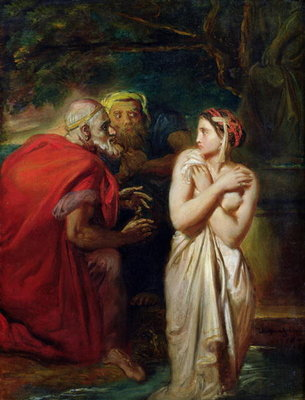 Susanna and the Elders, 1856 (oil on panel) Postcards, Greetings Cards, Art Prints, Canvas, Framed Pictures, T-shirts & Wall Art by Theodore Chasseriau