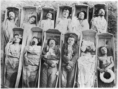 Communards in their coffins, c.1871 (b/w photo) Fine Art Print by Andre Adolphe Eugene Disderi