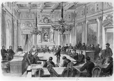 Members of the Commune in session at the Hotel de Ville, Salle des Maires, Paris, 1871 Fine Art Print by Auguste Victor Deroy