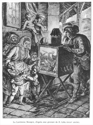 The Magic Lantern (engraving) (b/w photo) Wall Art & Canvas Prints by Pierre Lelu