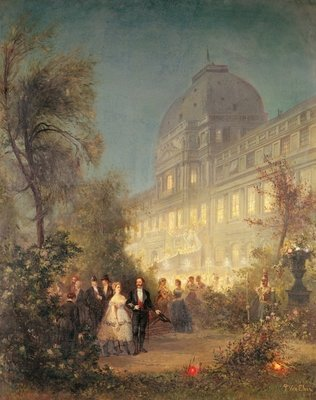 Evening Party at the Tuileries, 10th June 1867 (oil on canvas) Fine Art Print by Pierre Tetar van Elven